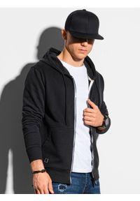 Ombre Clothing - Bluza męska rozpinana z kapturem B1145 - czarna - XXL. Typ kołnierza: kaptur. Kolor: czarny. Materiał: bawełna. Styl: klasyczny