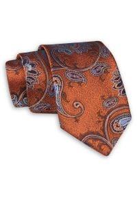 Miedziany Krawat w Kwiaty - Chattier. Kolor: brązowy. Materiał: tkanina. Wzór: kwiaty. Styl: wizytowy, elegancki