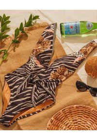 AGUA BENDITA - Jednoczęściowy strój kąpielowy ze zwierzęcym motywem Jambo. Kolor: brązowy. Wzór: motyw zwierzęcy