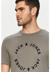 Szary t-shirt Jack & Jones na co dzień, z nadrukiem, casualowy #5