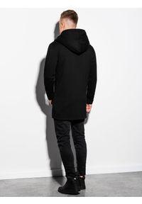 Ombre Clothing - Bluza męska rozpinana z kapturem B668 HUGO - czarna - XXL. Typ kołnierza: kaptur. Kolor: czarny. Materiał: bawełna, poliester. Styl: klasyczny, elegancki #6