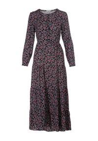 Born2be - Czarna Sukienka Echolee. Kolor: czarny. Długość rękawa: długi rękaw. Wzór: kwiaty. Długość: maxi