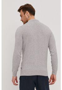 BOSS - Boss - Sweter. Okazja: na co dzień. Kolor: szary. Materiał: dzianina. Długość rękawa: długi rękaw. Długość: długie. Styl: casual