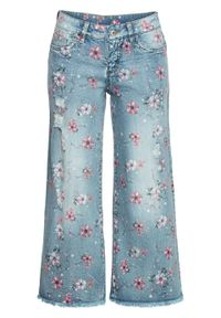 "Dżinsy culotte bonprix niebieski ""bleached"". Kolor: niebieski #1"