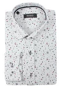 Biała elegancka koszula Grzegorz Moda Męska na spotkanie biznesowe, z długim rękawem, w grochy