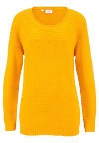 Sweter z dłuższym tyłem bonprix żółty szafranowy. Kolor: żółty. Długość: długie