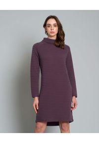 HEMISPHERE - Sukienka z kaszmiru. Okazja: na co dzień. Typ kołnierza: golf. Kolor: różowy, fioletowy, wielokolorowy. Materiał: kaszmir. Długość rękawa: długi rękaw. Typ sukienki: dopasowane, proste. Styl: casual. Długość: mini