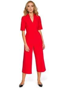 MOE - Czerwony Elegancki Kombinezon ze Spodniami Typu Culotte. Kolor: czerwony. Materiał: poliester, wiskoza, elastan. Styl: elegancki