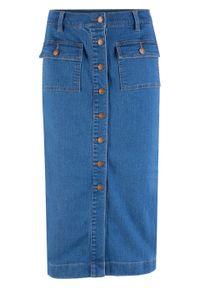 Spódnica dżinsowa ze stretchem midi bonprix niebieski. Kolor: niebieski