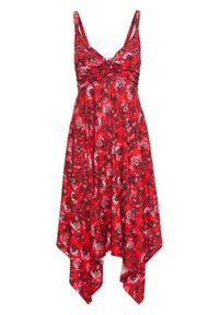 Czerwona sukienka bonprix asymetryczna, w kwiaty, midi