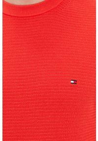TOMMY HILFIGER - Tommy Hilfiger - Sweter. Okazja: na co dzień. Kolor: pomarańczowy. Materiał: dzianina, bawełna. Długość rękawa: długi rękaw. Długość: długie. Styl: casual