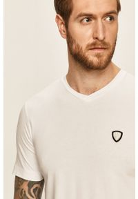 Biały t-shirt EA7 Emporio Armani z okrągłym kołnierzem, casualowy, na co dzień