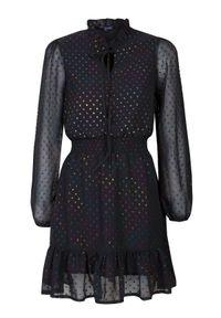 Czarna sukienka TOP SECRET mini, na zimę, elegancka, w kolorowe wzory