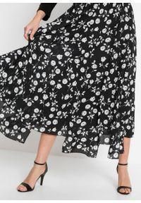 Czarna spódnica bonprix długa, z nadrukiem