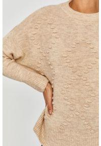 Beżowy sweter rozpinany Answear Lab na co dzień, z długim rękawem