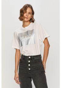 Biała bluzka Hugo casualowa, z nadrukiem, na co dzień