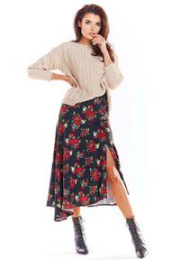 Awama - Czarna Długa Asymetryczna Spódnica w Kwiaty. Kolor: czarny. Materiał: poliester, elastan. Długość: długie. Wzór: kwiaty