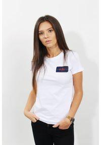 Biały t-shirt Edward Orlovski z aplikacjami, z okrągłym kołnierzem, klasyczny, z krótkim rękawem
