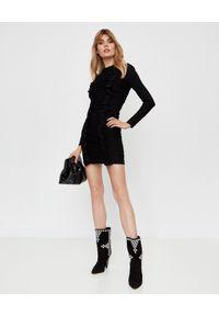 NEEDLE & THREAD - Czarna sukienka z falbaną. Kolor: czarny. Materiał: welur, materiał. Długość rękawa: długi rękaw. Wzór: aplikacja. Typ sukienki: dopasowane