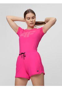 Różowa koszulka sportowa 4f gładkie, na fitness i siłownię