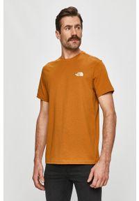Brązowy t-shirt The North Face casualowy, na co dzień