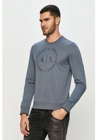 Niebieska bluza nierozpinana Armani Exchange z nadrukiem, bez kaptura