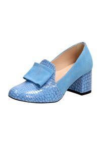 Suzana - Niebieskie POLSKIE półbuty damskie SUZANA 4097. Kolor: niebieski. Materiał: zamsz, lakier, skóra. Szerokość cholewki: normalna. Styl: klasyczny