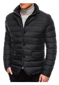 Czarna kurtka Ombre Clothing ze stójką, na zimę
