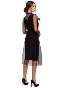 MAKEOVER - Czarna Elegancka Sukienka z Tiulem. Kolor: czarny. Materiał: tiul. Styl: elegancki