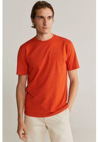 Pomarańczowy t-shirt Mango Man z okrągłym kołnierzem