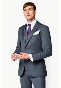 Lancerto - Marynarka Business Mix Szara. Okazja: na spotkanie biznesowe. Kolor: szary. Materiał: tkanina, wełna, wiskoza, poliester. Styl: biznesowy
