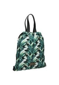 Plecak damski worek full print zielony Nobo I0890. Kolor: zielony. Materiał: materiał. Wzór: nadruk