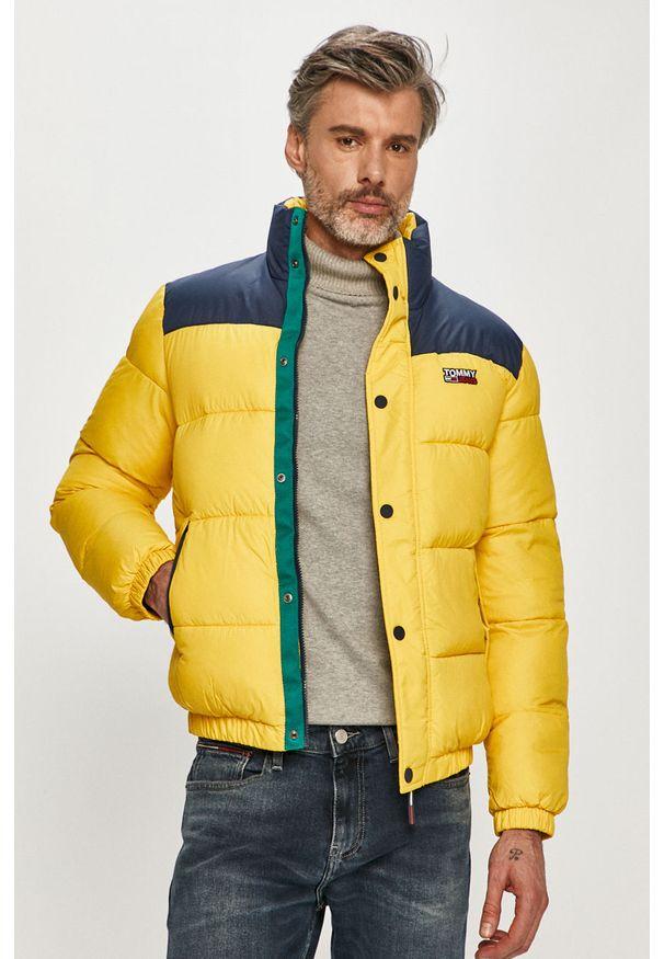 Żółta kurtka Tommy Jeans na co dzień, bez kaptura