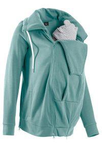 Bluza rozpinana ciążowa z wstawką na nosidełko niemowlęce bonprix niebieski mineralny. Kolekcja: moda ciążowa. Kolor: niebieski