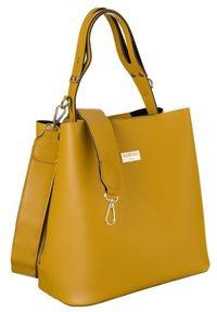 Torebka damska żółta Badura BA/008 AS CAMEL. Kolor: żółty. Wzór: gładki. Materiał: skórzane. Rodzaj torebki: na ramię