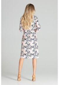 Figl - Koszulowa sukienka szmizjerka z podpinanym rękawem 3/4 panterka. Okazja: do pracy, na uczelnię, na imprezę. Wzór: motyw zwierzęcy. Typ sukienki: szmizjerki, koszulowe
