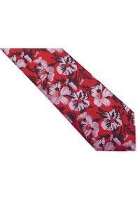 Modini - Czerwony krawat męski w kwiaty C2. Kolor: czerwony. Materiał: tkanina, mikrofibra. Wzór: kwiaty