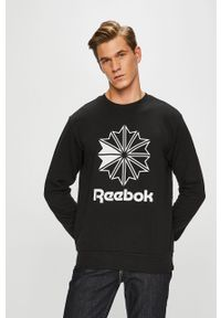 Czarna bluza nierozpinana Reebok Classic na co dzień, z nadrukiem, z okrągłym kołnierzem