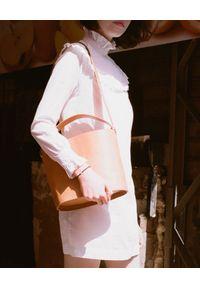BALAGAN - Beżowa torebka kubełek CHAMPAGNE. Kolor: beżowy. Styl: casual