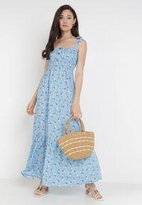 Born2be - Niebieska Sukienka Amanoire. Kolor: niebieski. Długość rękawa: na ramiączkach. Wzór: kwiaty, aplikacja. Styl: wakacyjny. Długość: maxi