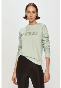 Zielona bluza Guess bez kaptura, z aplikacjami, długa, z długim rękawem