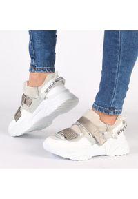 Navy dot - Srebrne sneakersy damskie NAVY DOT 56004. Kolor: biały. Materiał: zamsz, skóra