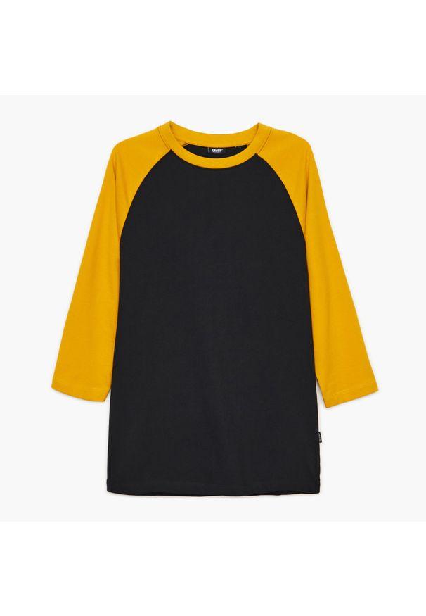 Cropp - Koszulka z reglanowymi rękawami - Żółty. Kolor: żółty