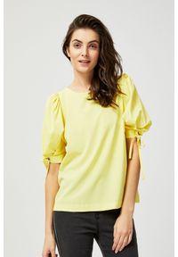 Żółta koszula MOODO krótka, z koszulowym kołnierzykiem, z krótkim rękawem