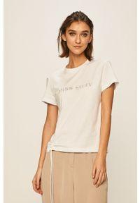 Biała bluzka Miss Sixty z aplikacjami, casualowa, na co dzień