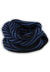 Niebieski szalik Pako Jeans na jesień, w prążki