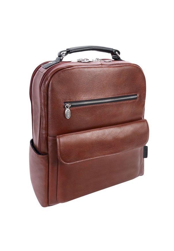 MCKLEIN - Skórzany plecak męski na laptopa McKlein Logan brązowy. Kolor: brązowy. Materiał: skóra. Wzór: paski