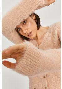 Różowy sweter rozpinany Answear Lab na co dzień, gładki, wakacyjny