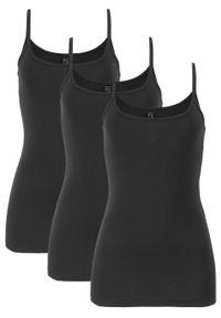 Top na wąskich ramiączkach (3 szt.) bonprix 3x czarny. Kolor: czarny. Długość rękawa: na ramiączkach