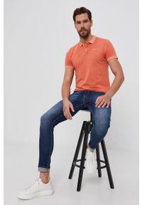 Pepe Jeans - Polo bawełniane Vincent. Typ kołnierza: polo. Kolor: pomarańczowy. Materiał: bawełna. Długość: krótkie. Wzór: gładki